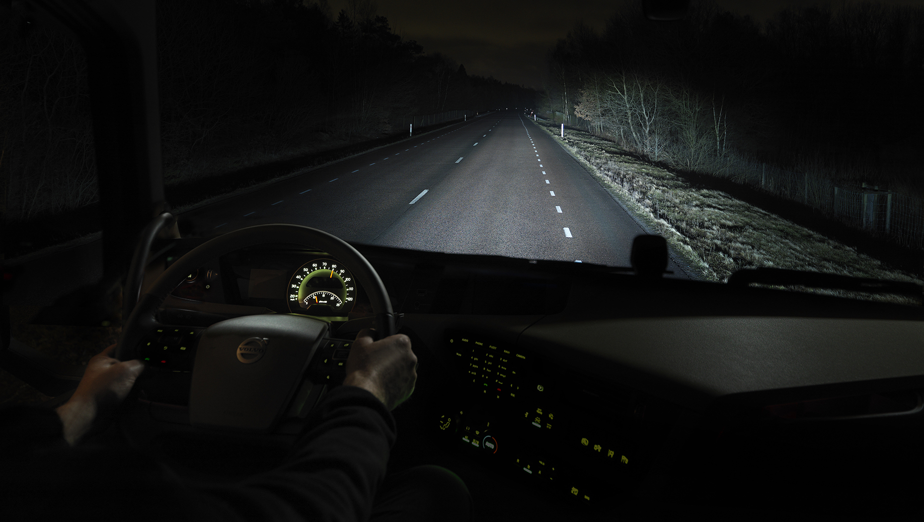 Night mode from driver's seat.
