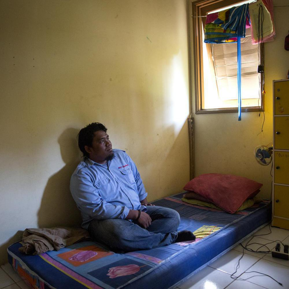 Andreas Wahyudi in his dorm.
