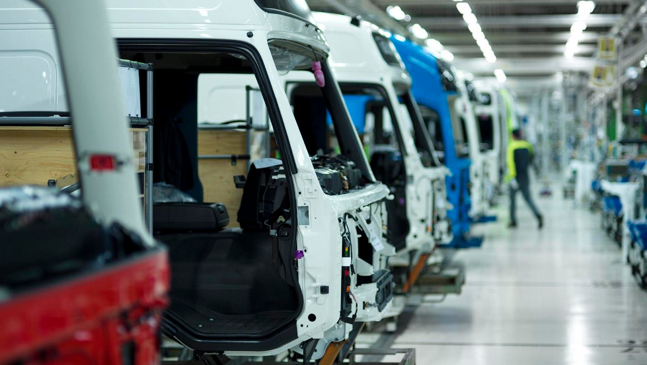 Cabs on assembly line.