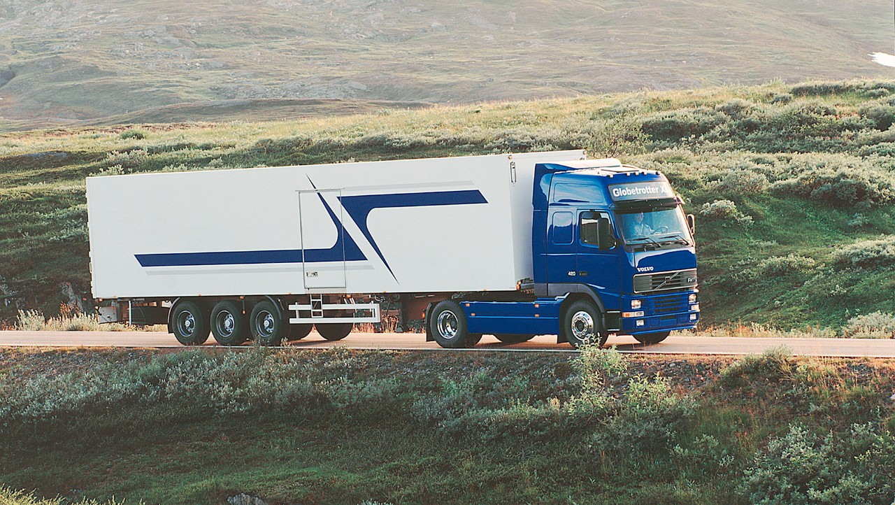 Volvo FH in green landscape