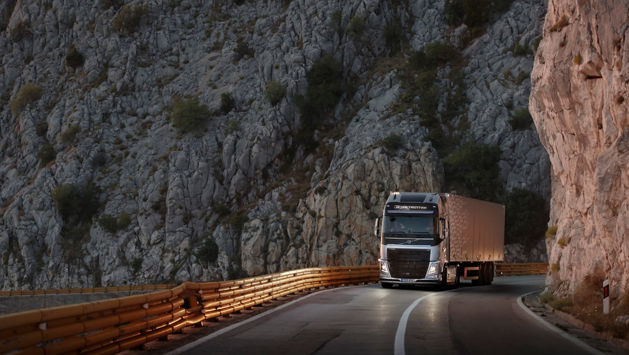 Volvo FH driving in mountain area