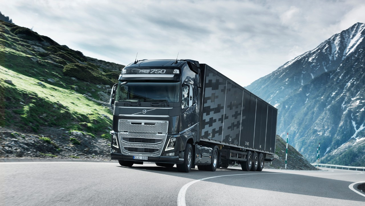 Volvo FH driving uphill