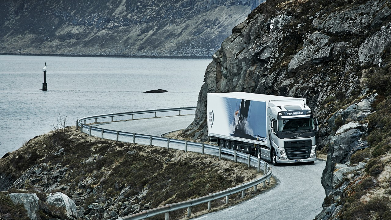 Volvo driving on winding road
